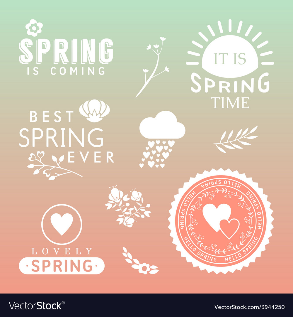 Spring typographic design set of labels and badges vector | Price: 1 Credit (USD $1)