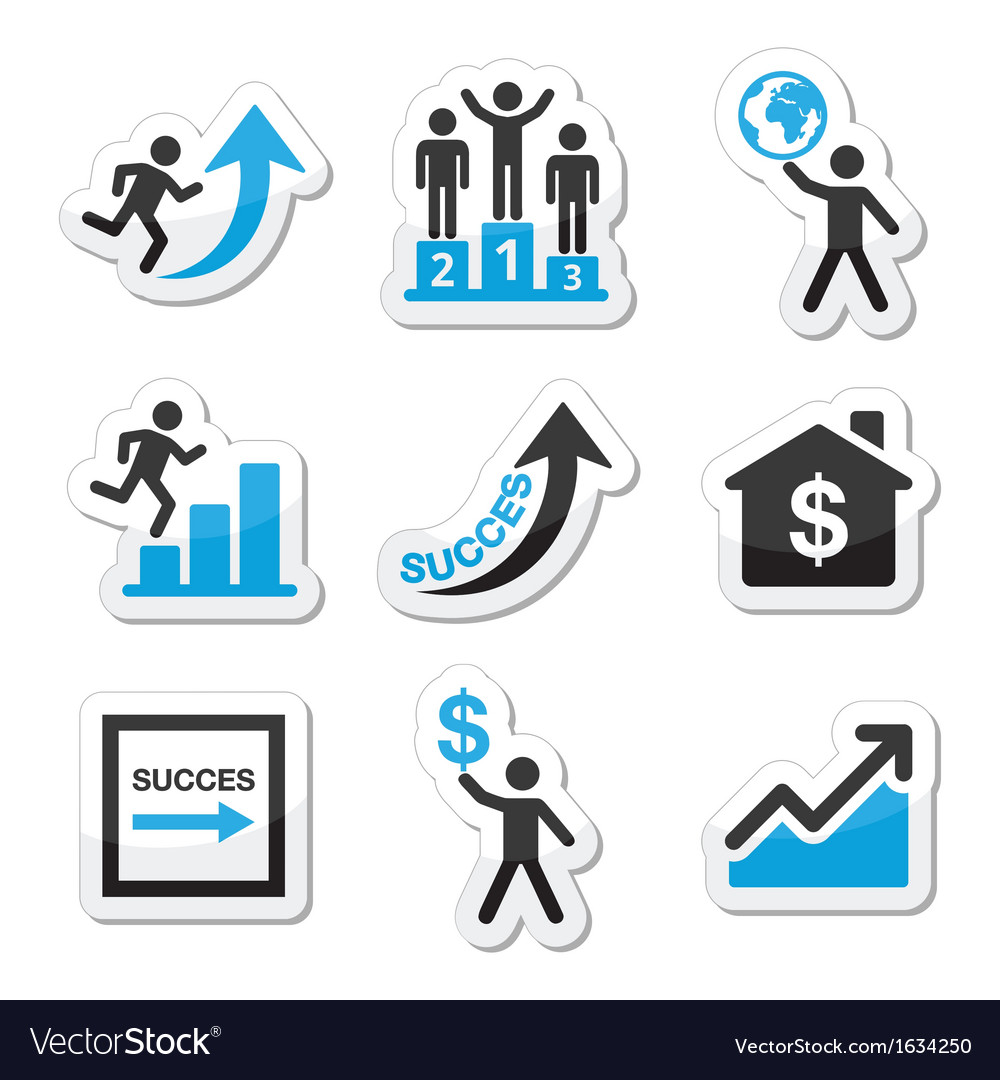 Success in business self development icons set vector | Price: 1 Credit (USD $1)