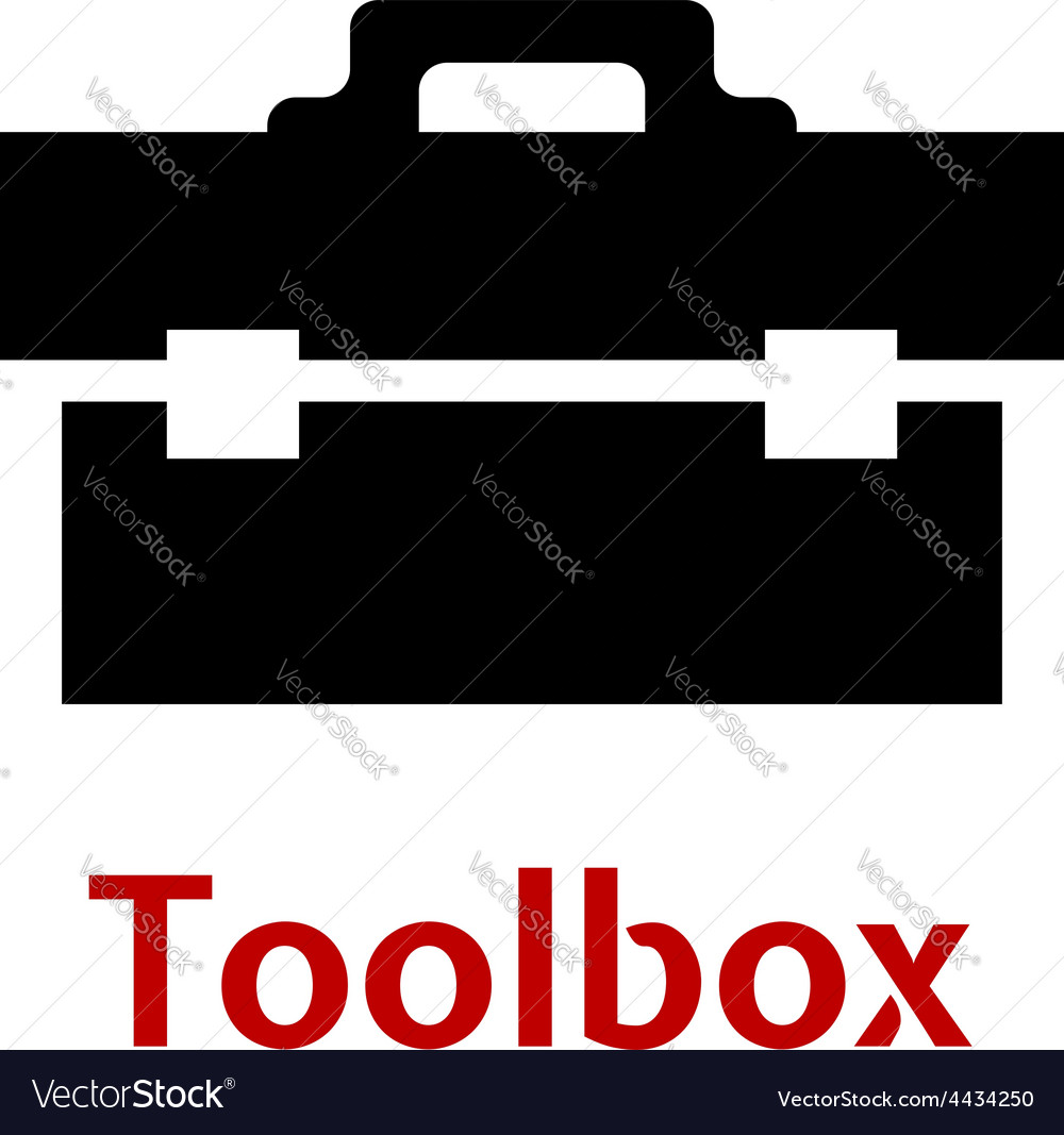 Toolbox black icon isolated on white background vector | Price: 1 Credit (USD $1)
