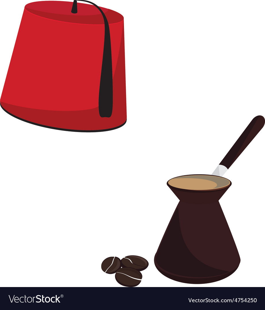 Turkish hat and coffee pot vector | Price: 1 Credit (USD $1)