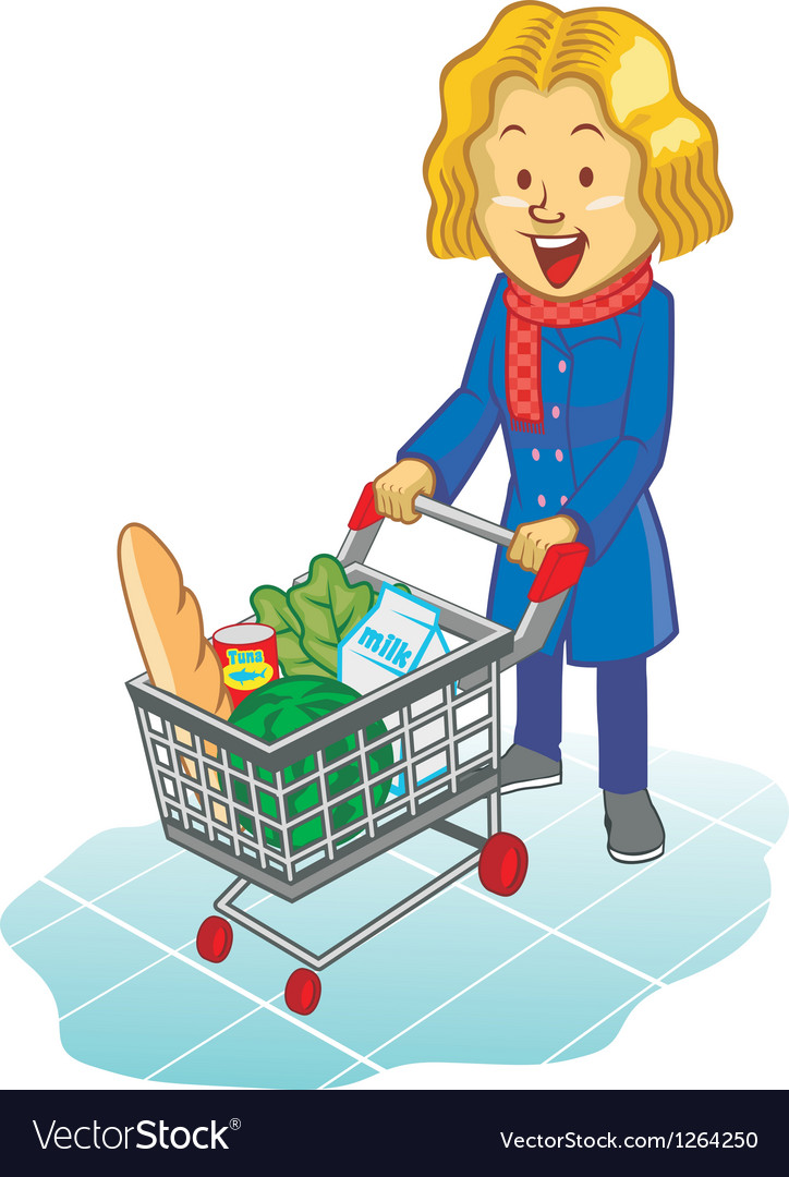 Women using trolley at supermarket vector | Price: 3 Credit (USD $3)