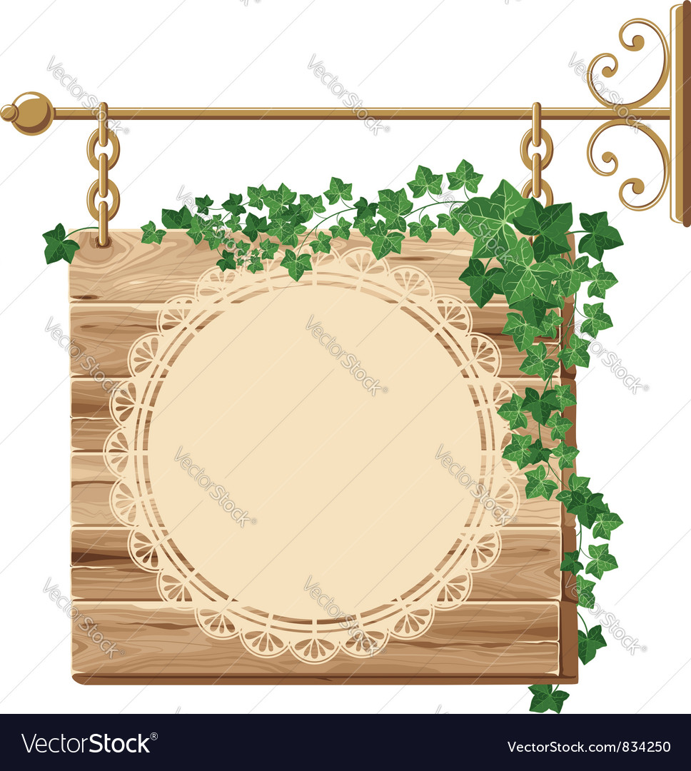 Wooden sign with ivy vector | Price: 3 Credit (USD $3)