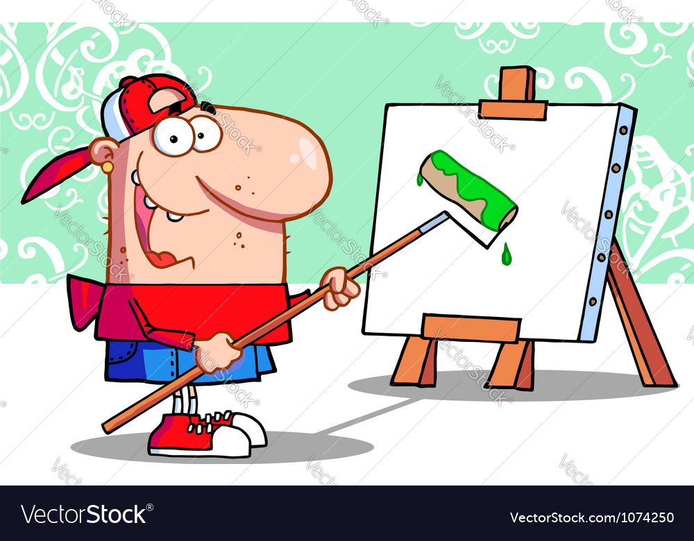 Young painter guy vector | Price: 1 Credit (USD $1)