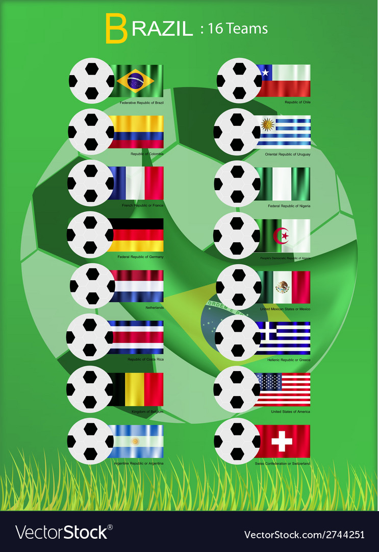 16 teams of football tournament in brazil 2014 vector | Price: 1 Credit (USD $1)