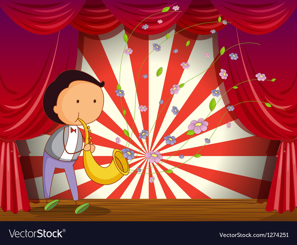 A boy playing trombone at the stage vector | Price: 1 Credit (USD $1)