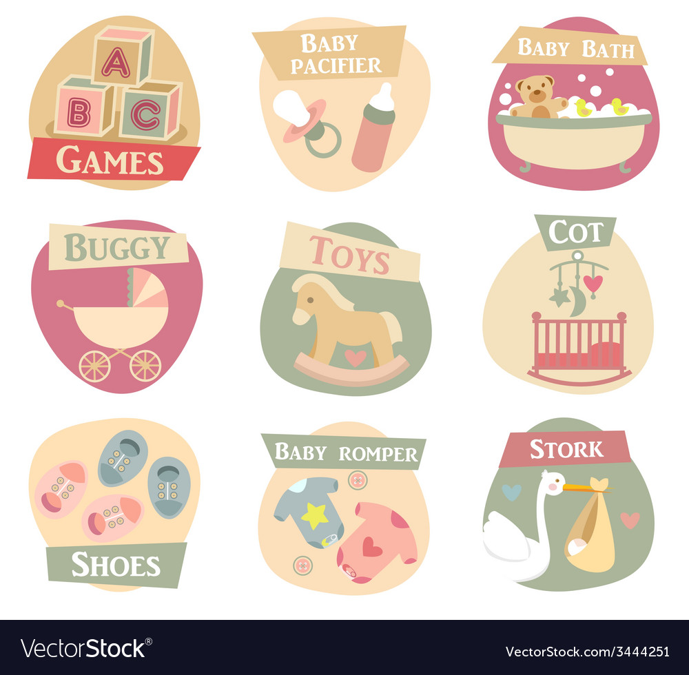 Baby life flat icons vector | Price: 1 Credit (USD $1)