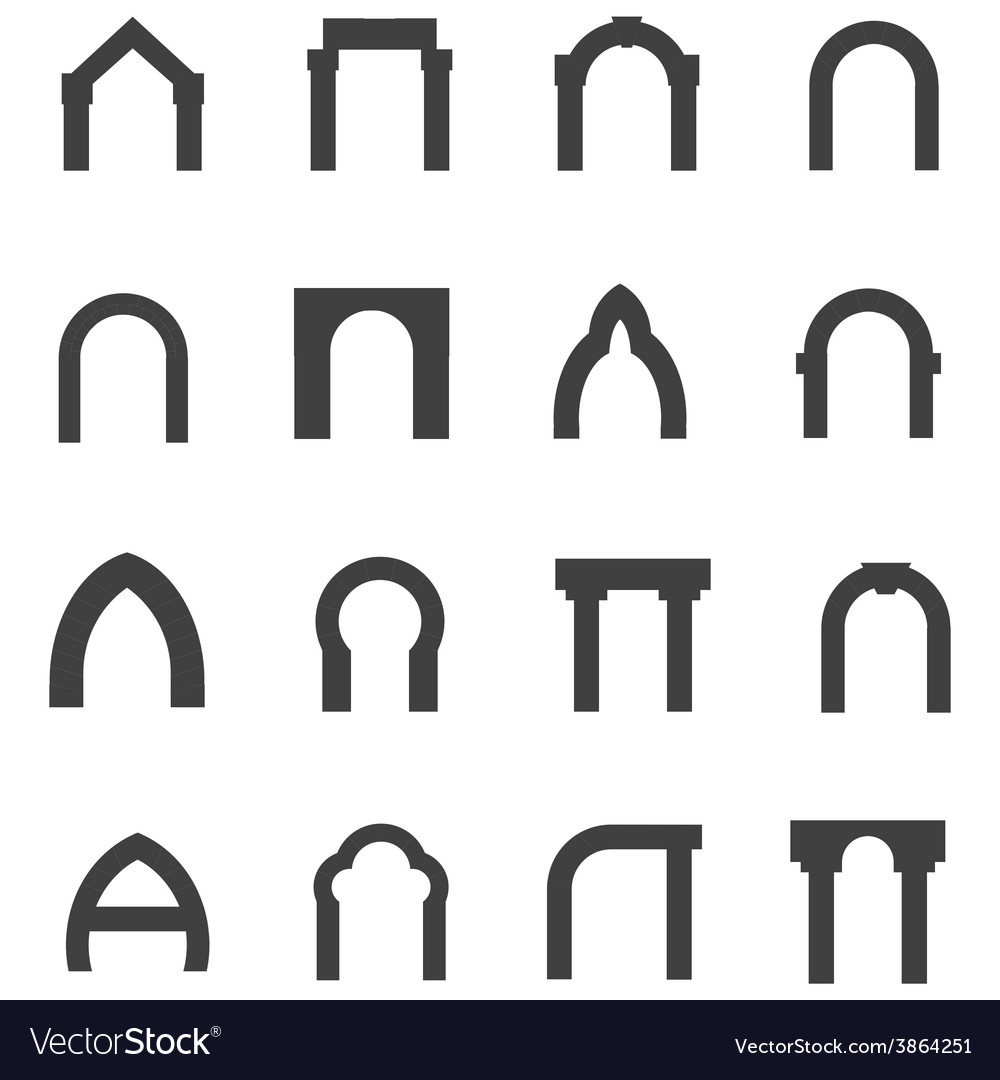 Black monolith icons for archway vector | Price: 1 Credit (USD $1)