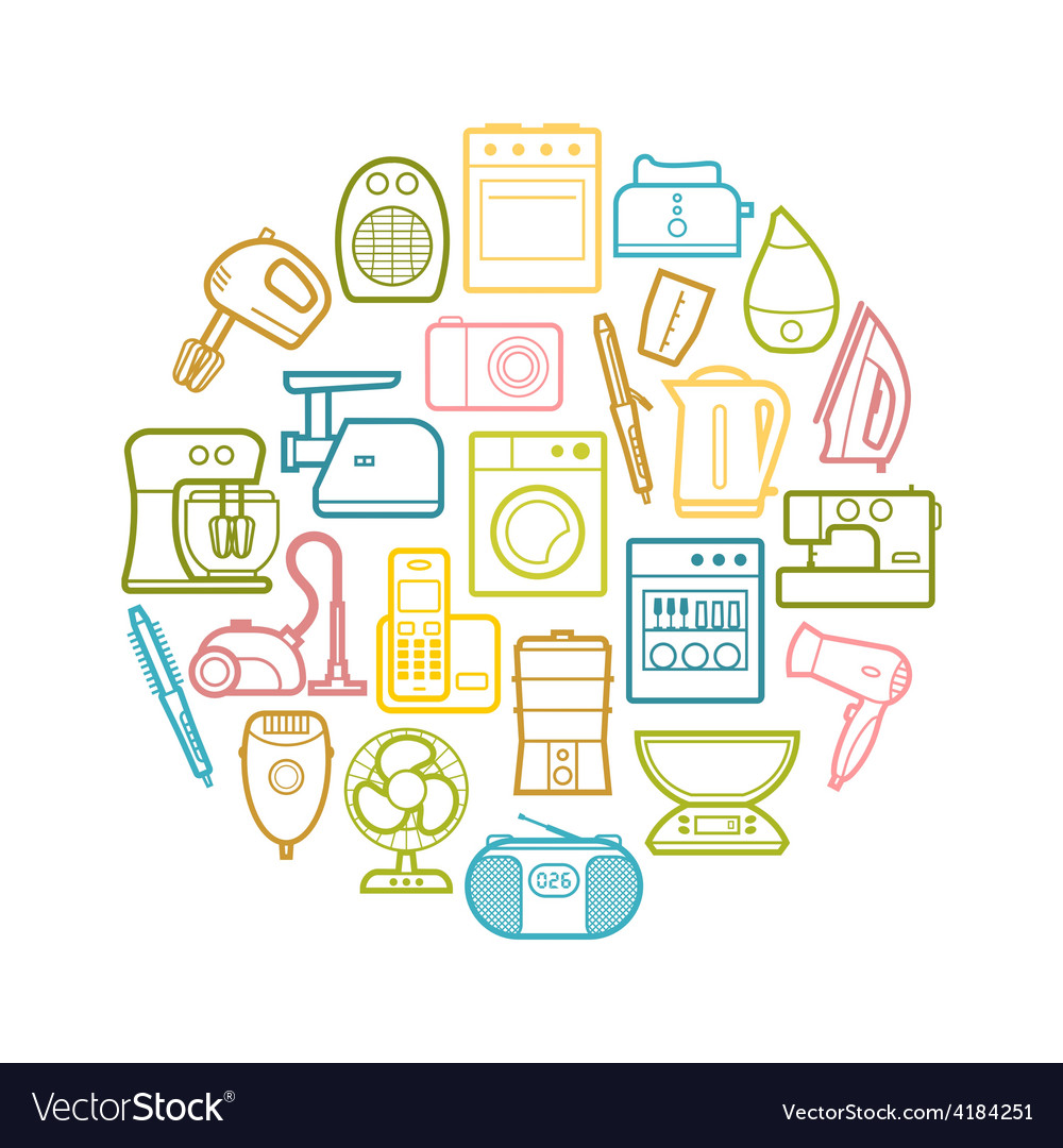 Circle set of contour home appliances icons vector | Price: 1 Credit (USD $1)
