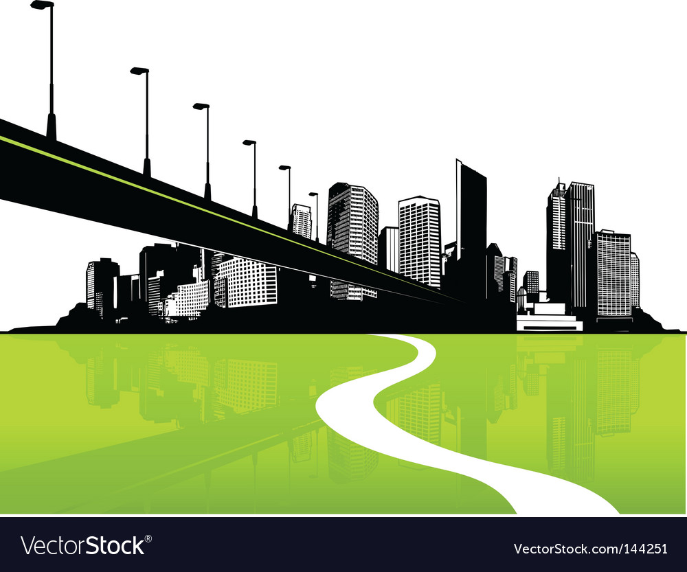 City with green reflection vector | Price: 1 Credit (USD $1)