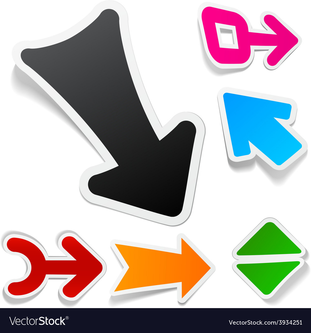 Color arrows sticker set vector | Price: 1 Credit (USD $1)