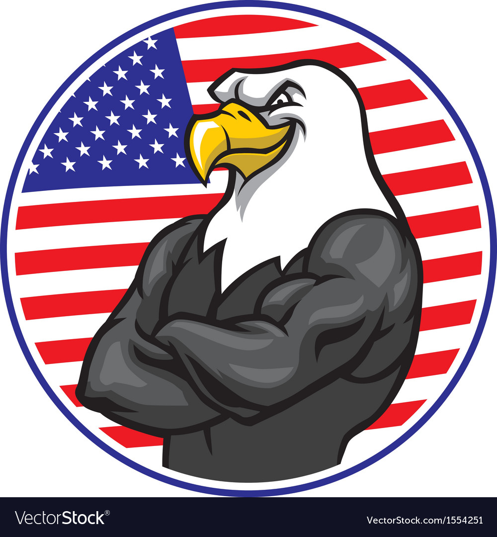 Eagle mascot show the muscle with american flag vector | Price: 3 Credit (USD $3)