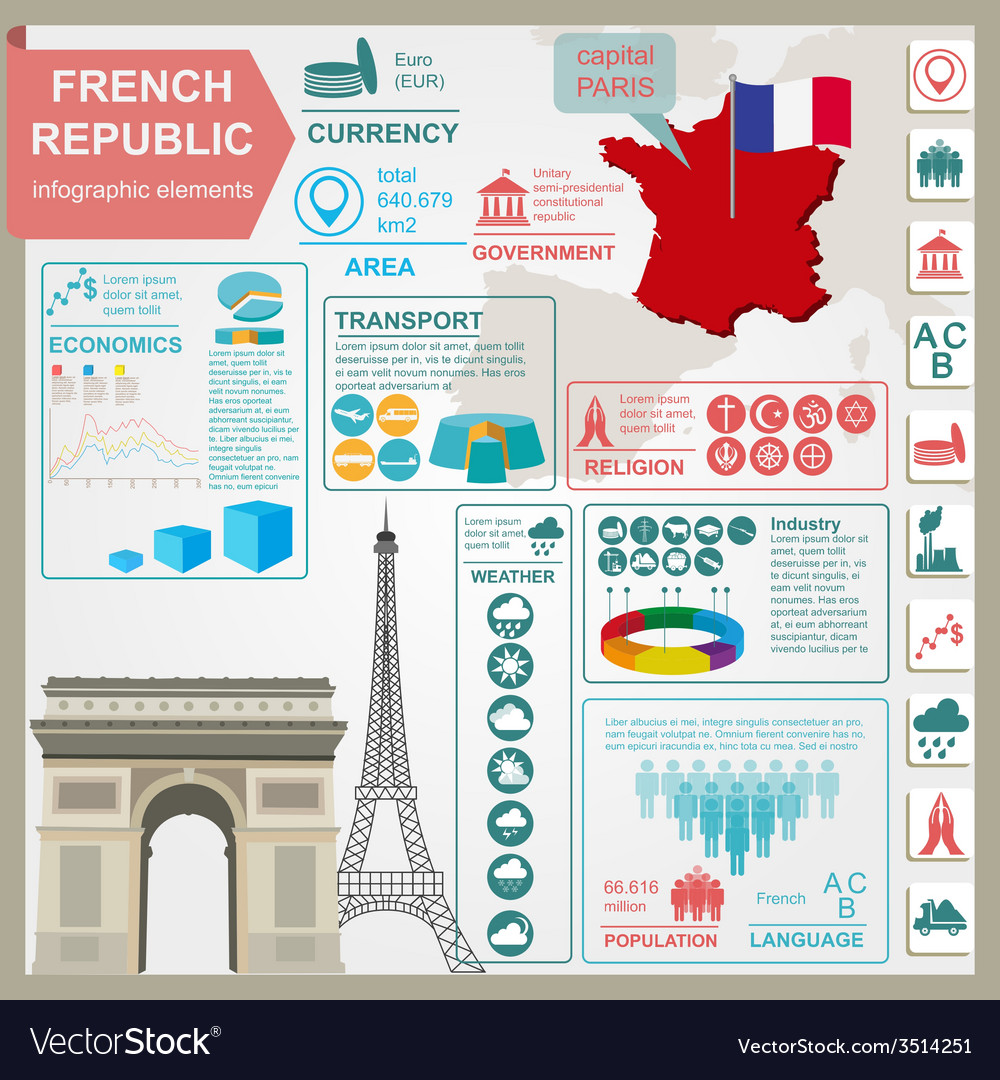 France infographics statistical data sights vector | Price: 1 Credit (USD $1)