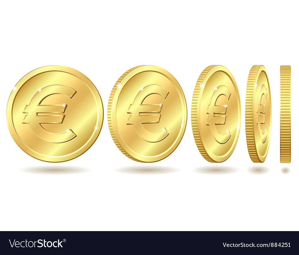 Golden coin with euro sign vector | Price: 1 Credit (USD $1)