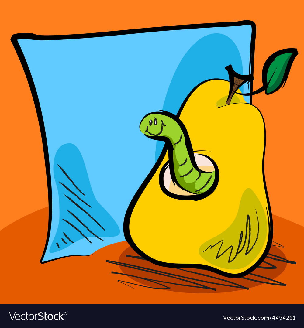 Grungy worm cartoon inside a pear with sticky note vector | Price: 1 Credit (USD $1)
