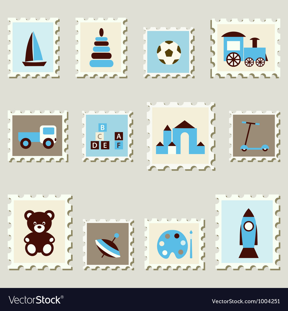 Postage stamps with toys vector