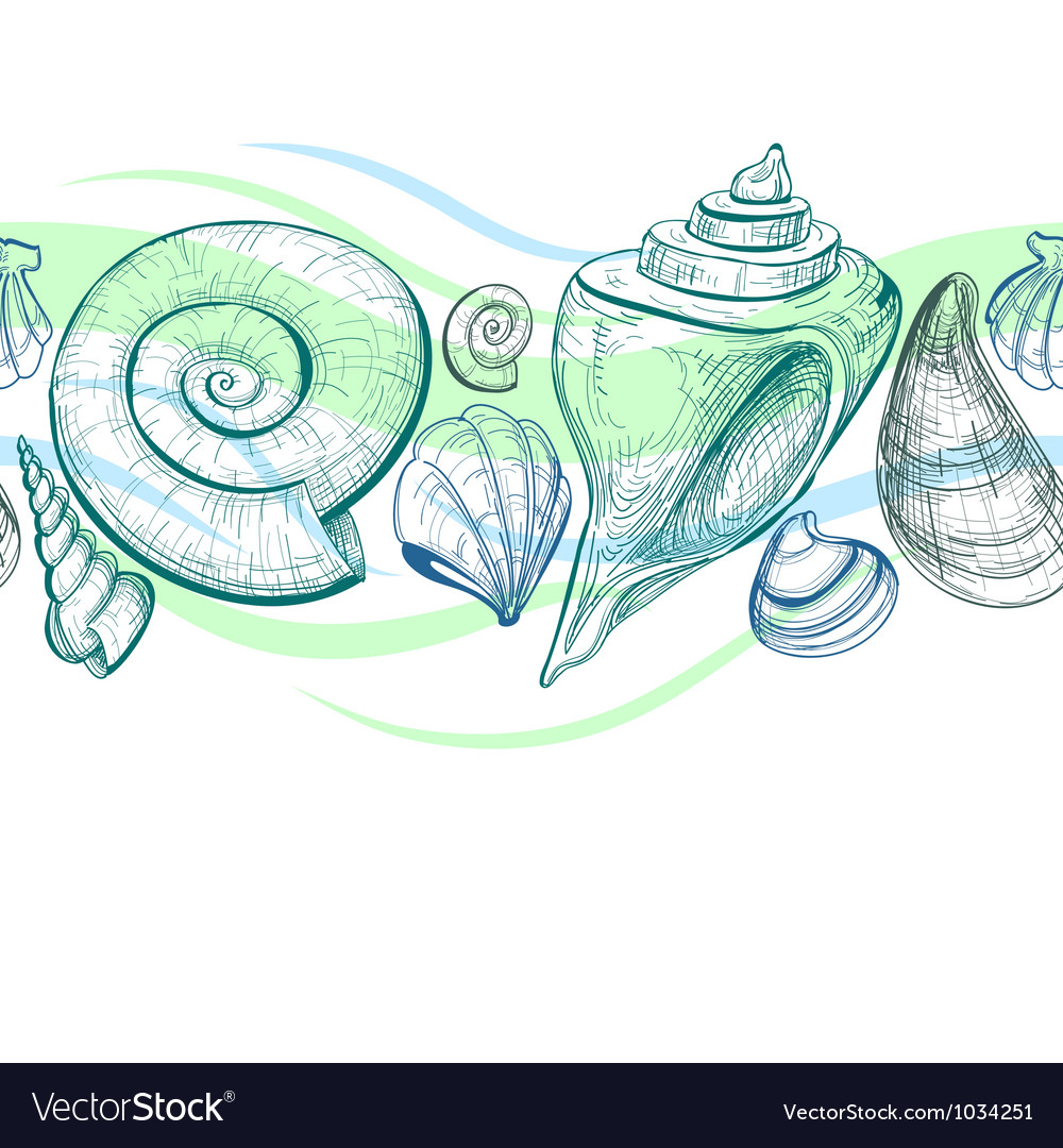 Sea shells seamless pattern vector | Price: 1 Credit (USD $1)