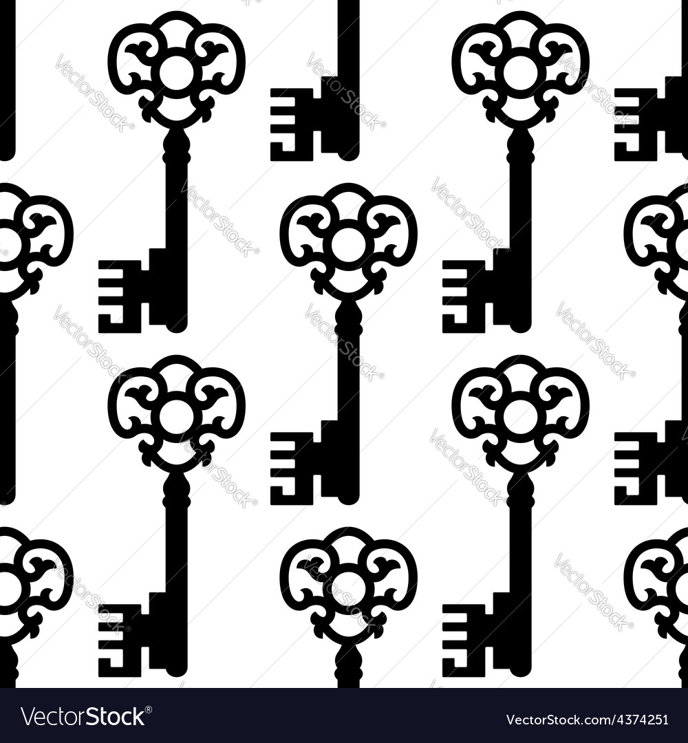 Vintage skeleton keys seamless pattern vector | Price: 1 Credit (USD $1)