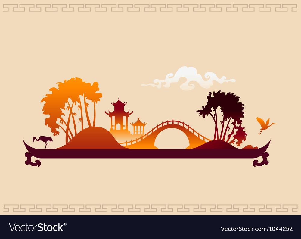 272 asia landscape tray vector | Price: 1 Credit (USD $1)
