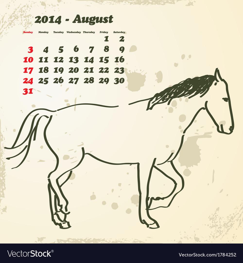August 2014 hand drawn horse calendar vector | Price: 1 Credit (USD $1)