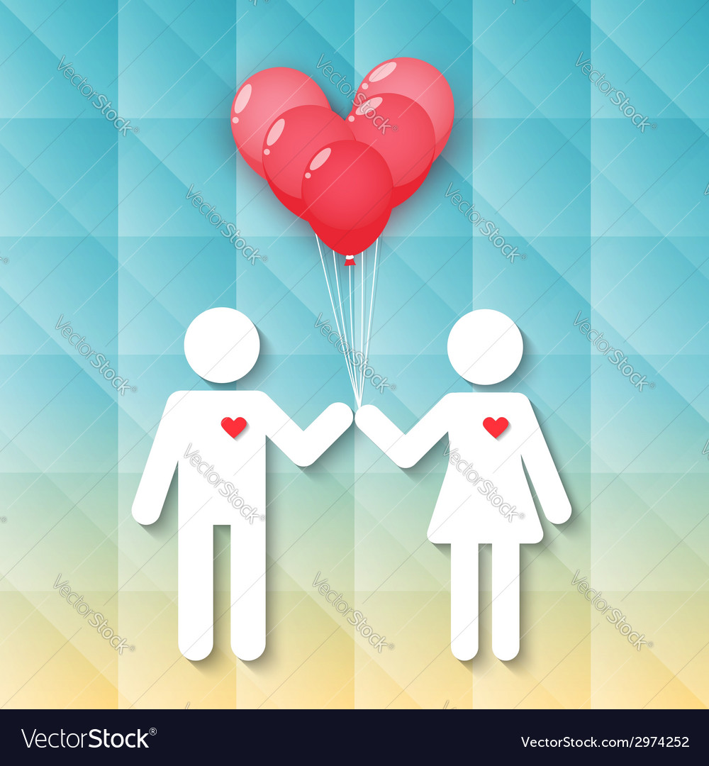 Boy and girl with red heart balloons vector | Price: 1 Credit (USD $1)