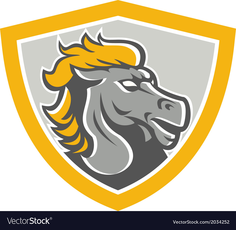 Bronco horse head shield vector | Price: 1 Credit (USD $1)