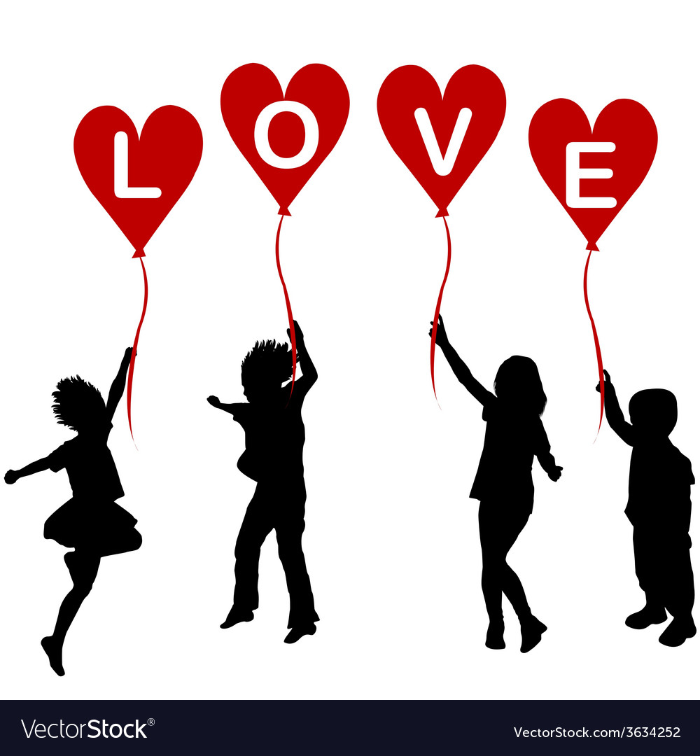 Children silhouettes with heart balloons and word vector | Price: 1 Credit (USD $1)