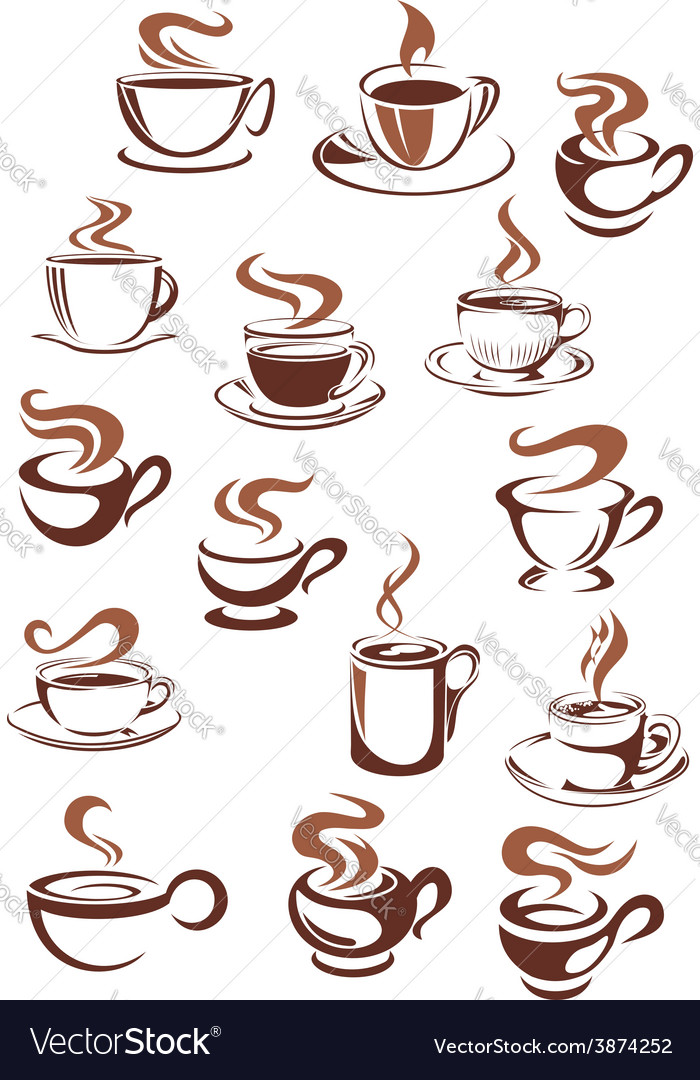 Coffee cups and mugs in doodle sketch style vector | Price: 1 Credit (USD $1)
