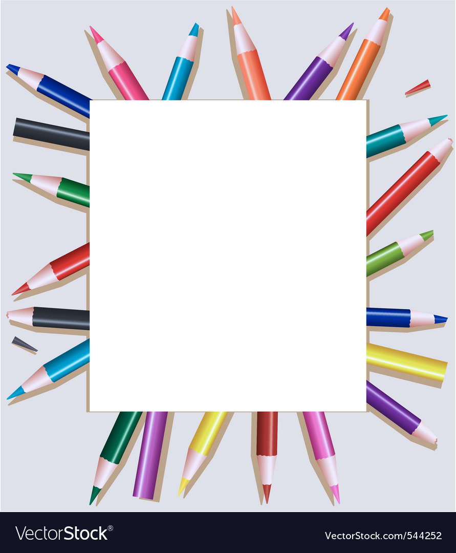 D pencils under blank sheet of paper vector vector | Price: 1 Credit (USD $1)