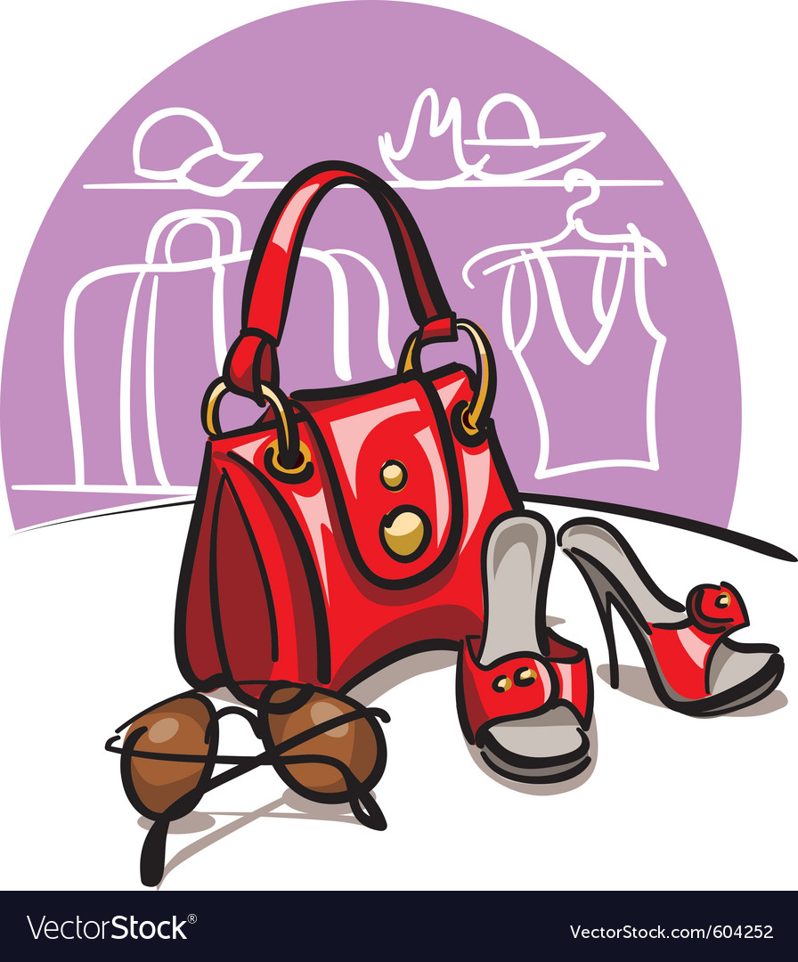 Female handbag shoes and sunglasses vector | Price: 3 Credit (USD $3)