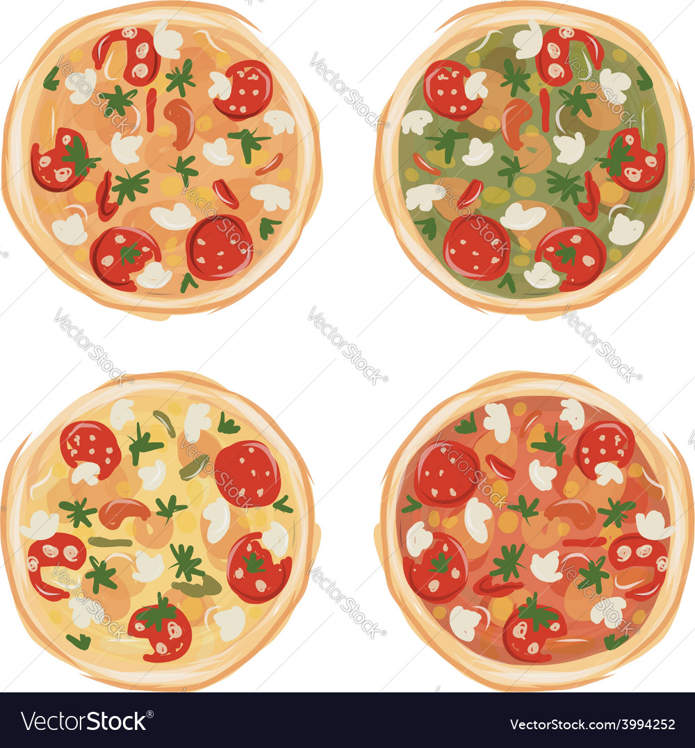 Pizza with tomato and mushrooms sketch for your vector   Price: 1 Credit (USD $1)