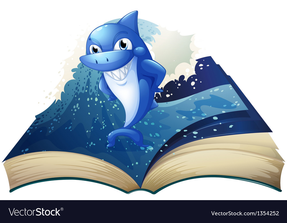 Smiling shark book vector | Price: 1 Credit (USD $1)