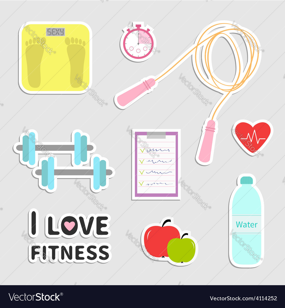 Timer whater dumbbell apple jumping rope scale vector   Price: 1 Credit (USD $1)