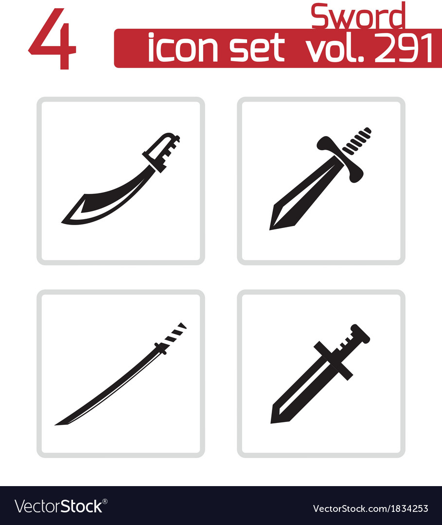 Black sword icons set vector | Price: 1 Credit (USD $1)