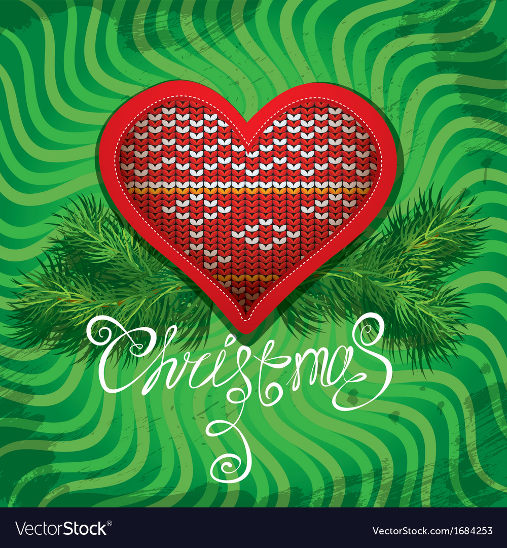 Christmas and new year card with knitted heart vector | Price: 1 Credit (USD $1)