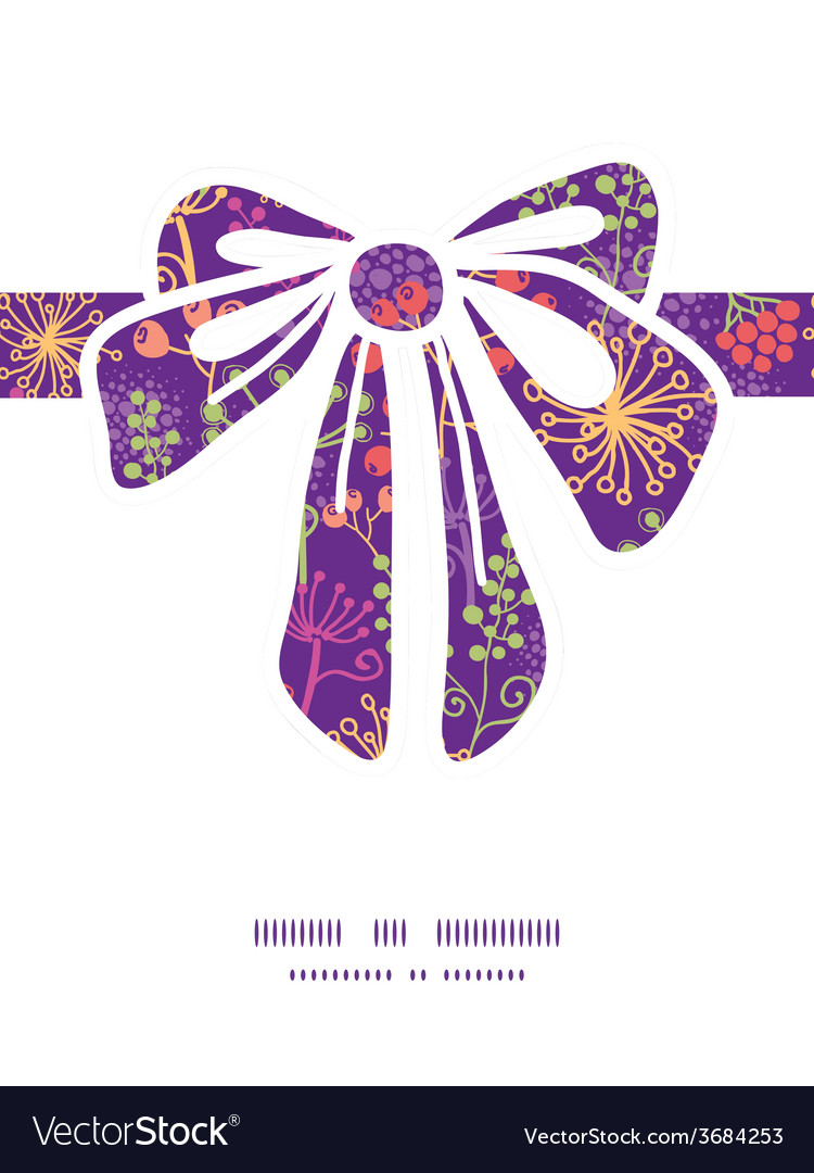 Colorful garden plants gift bow silhouette pattern vector | Price: 1 Credit (USD $1)