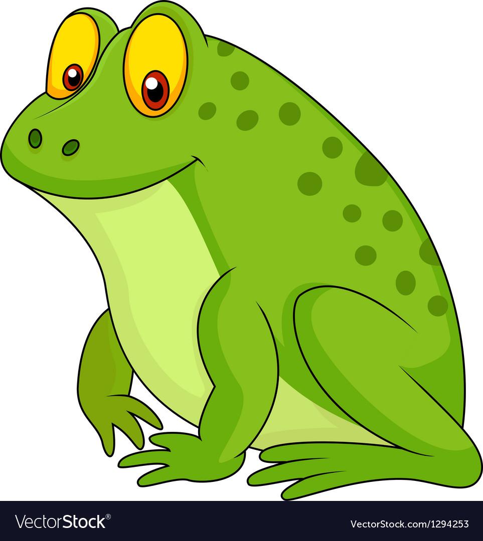 Cute green frog cartoon vector | Price: 1 Credit (USD $1)