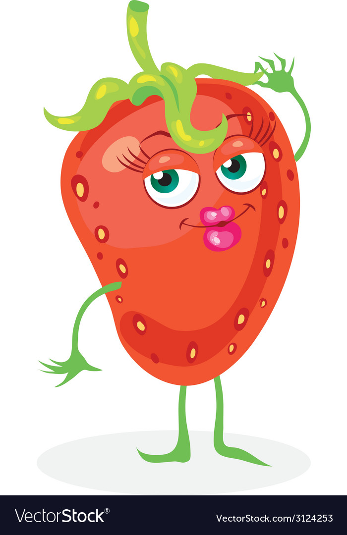 Cute strawberry on a white background character vector | Price: 1 Credit (USD $1)