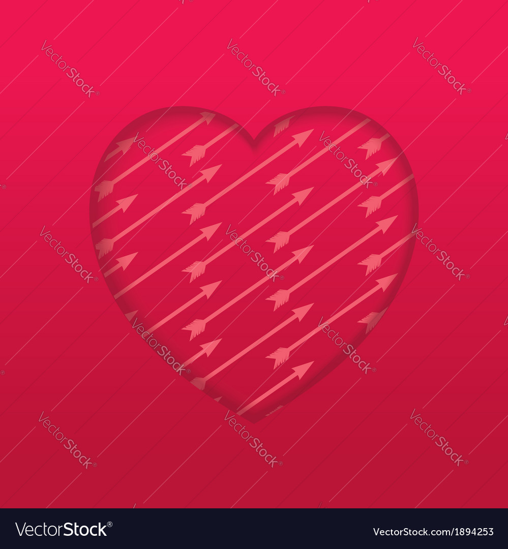 Engraved heart with pattern arrow vector | Price: 1 Credit (USD $1)