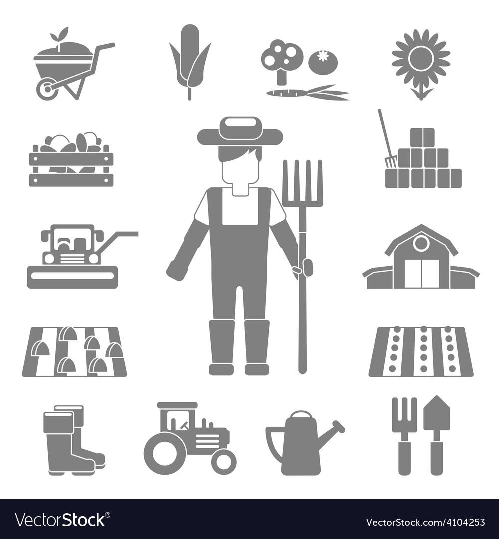 Farmer icons set vector | Price: 1 Credit (USD $1)