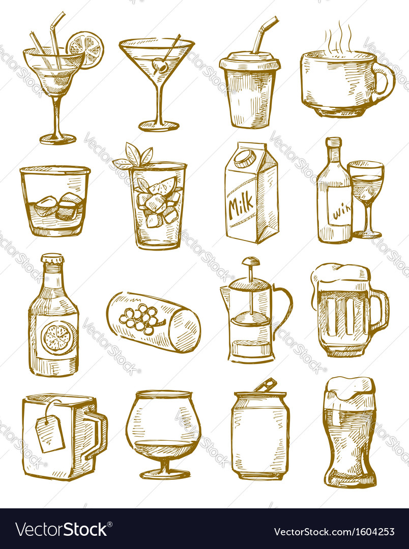 Hand drawn beverages vector | Price: 1 Credit (USD $1)