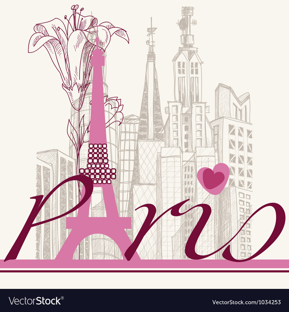 Paris card urban architecture and lily vector | Price: 1 Credit (USD $1)