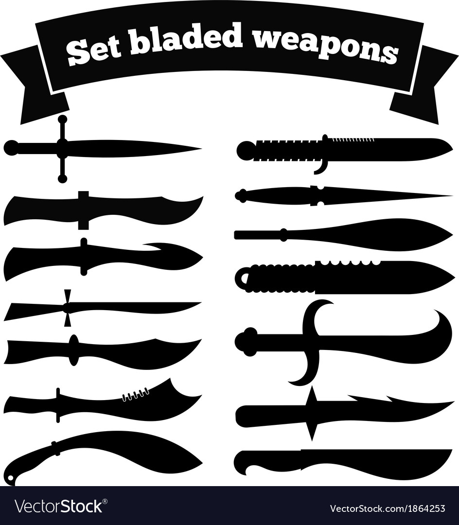 Set of silhouettes of knives vector | Price: 1 Credit (USD $1)