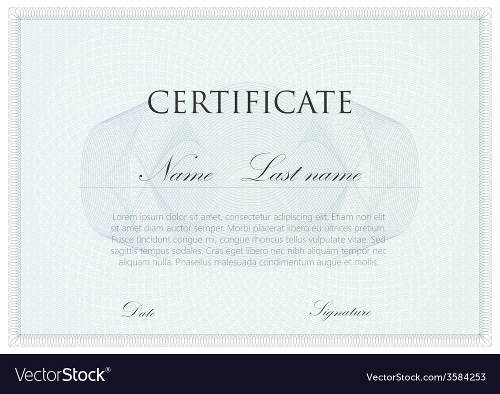 Template design of certificate with guilloche vector | Price: 1 Credit (USD $1)