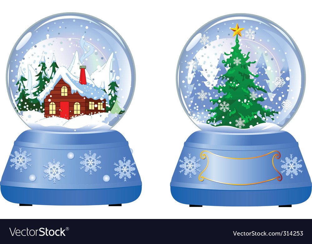 Two christmas snow globes vector | Price: 3 Credit (USD $3)