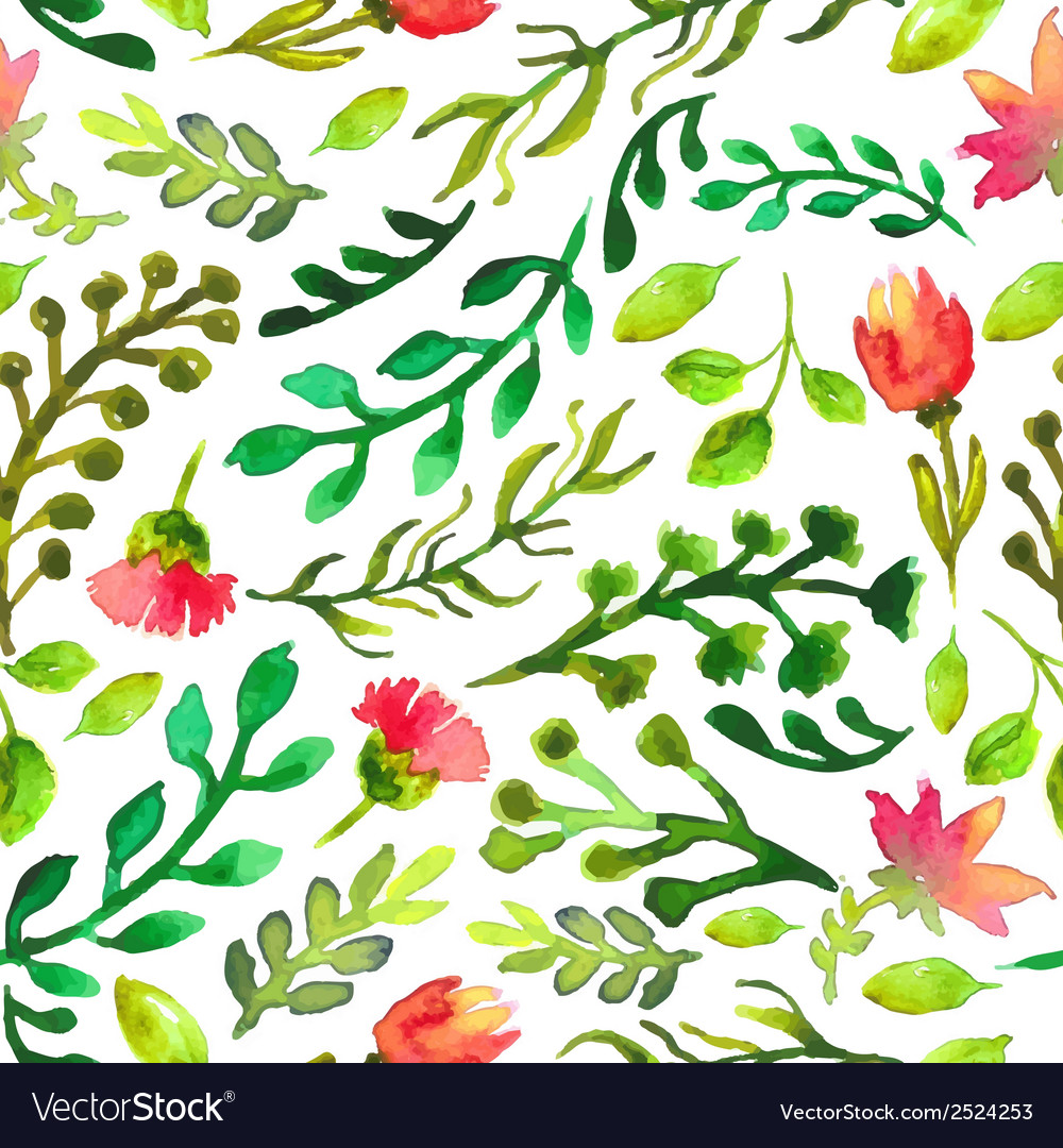 Watercolor seamless pattern with green leaf and vector | Price: 1 Credit (USD $1)