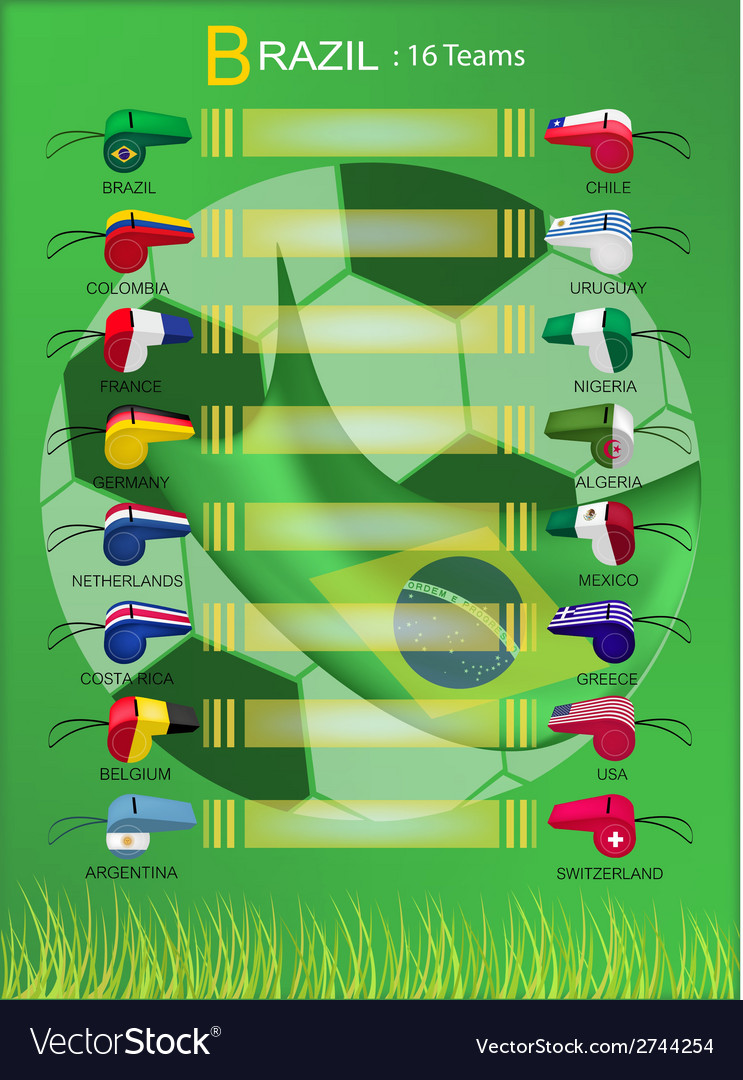 16 teams of football tournament in brazil final vector | Price: 1 Credit (USD $1)