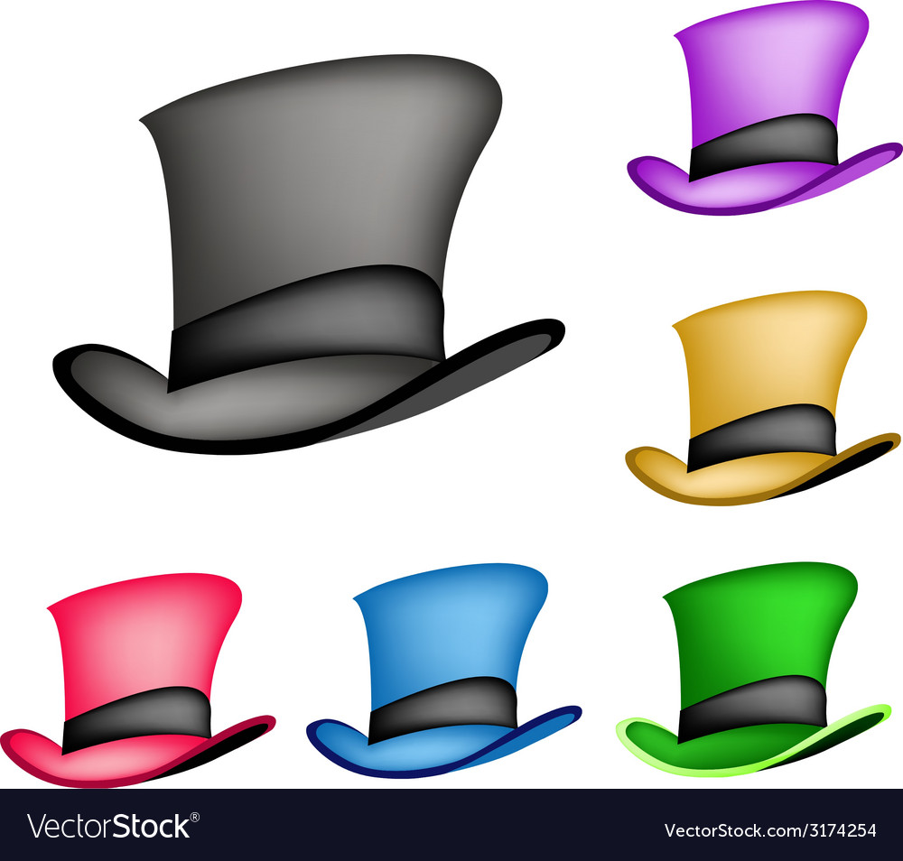 Colorful victorian style top hat vector   Price: 1 Credit (USD $1)
