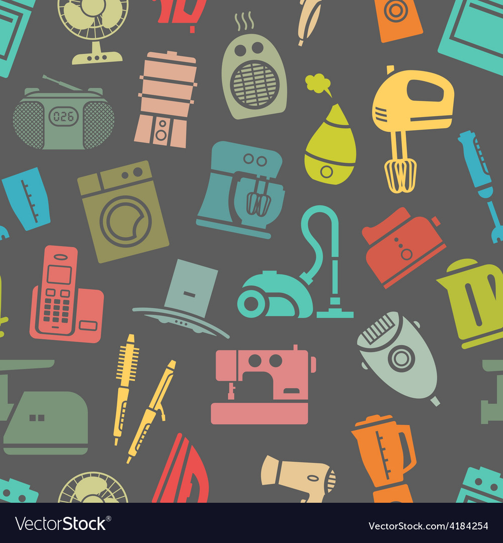 Dark seamless pattern of home appliances vector | Price: 1 Credit (USD $1)