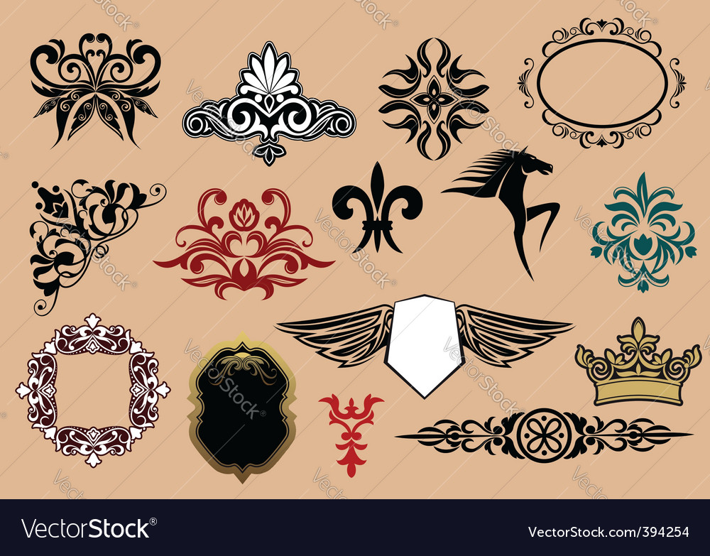 Heraldic elements vector | Price: 1 Credit (USD $1)