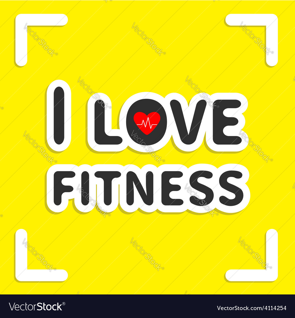 I love fitness text with heart sign on yellow vector | Price: 1 Credit (USD $1)